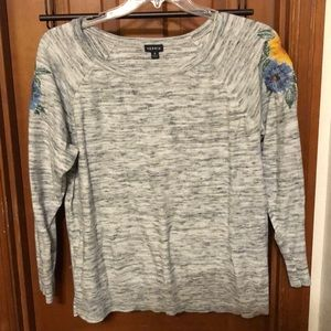 Torrid grey knit sweater with stitched flowers